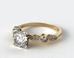 Fave band 14K Yellow Gold Antique Bezel and Pave Set Engagement Ring