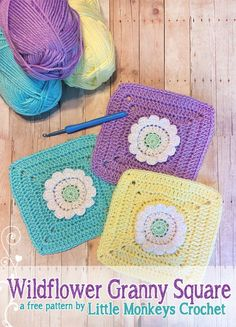 Wildflower Granny Square Crochet Pattern & Tutorial | Little Monkeys Crochet -- Combine to make a blanket or pillow