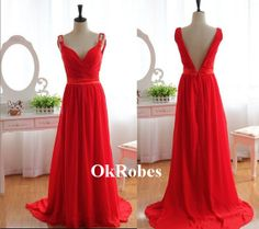 Red Prom Dress, V Neck Prom Dress, Chiffon Prom Dress, Sexy Evening Dress with Deep V Back