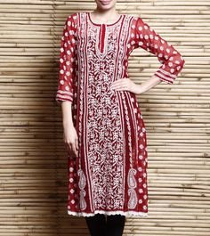 Red Georgette Anarkali Kurta With Chikankari | Indian Artizans