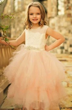 Blush pink flower girl dress Angelique with ivory