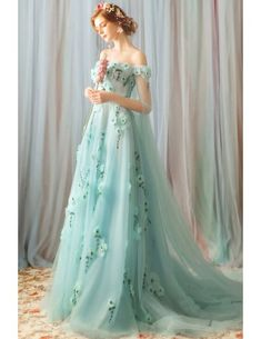 Fairy Prom Dress, Fairytale Dress, Ball Dresses, Evening Dresses, Prom Dresses Flowers, Green Formal Dresses, Light Green Dresses, Light Dress, Princess Prom Dresses