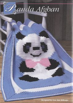 Panda Bear Afghan Crochet Pattern - Teddy Bear wearing a Bowtie....love this...I made this for my son 18 years ago.....