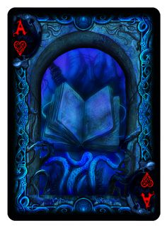 """Ace of Hearts from """"Cthulhu:The Great Old One"""" R'lyeh Rising Edition Bicycle Playing Cards Deck from Dann Kriss Games; with art by Ian Daniels"""