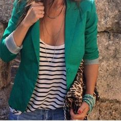 I like the blazer with the striped shirt.something a little different from the Breton stripe and red Quirky Fashion, Work Fashion, Fashion Looks, Friday Outfit, Weekend Outfit, Blazer Verde, Spring Summer Fashion, Spring Outfits, Mode Outfits