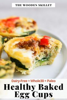 Healthy Baked Egg Cups (Meal Prep Friendly) - these baked egg cups are an easy breakfast option that is meal-prep friendly and for clean eating! (Dairy-Free + Whole30 + Paleo) #bakedeggcups #healthyeggcuprecipe #eggcuprecipe #eggcupsrecipe Whole 30 Breakfast, Healthy Breakfast Recipes, Healthy Baking, Brunch Recipes, Free Breakfast, Breakfast Ideas, Best Paleo Recipes, Whole30 Recipes, Easy Recipes
