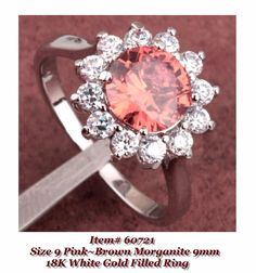 Size 9 Pinkish Brown Morganite 9mm 18K White Gold Filled Ring + Box #Unbranded #Cocktail
