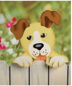 "Dog Decorative Wood Fence Topper . $19.99. measures 11""x 11""x 2.75"". mounts on fence top. handcrafted, hand painted wood. Brighten up that boring old fence with one of these handcrafted, hand painted wood fence toppers from Encore. Mounts on standard fence top."