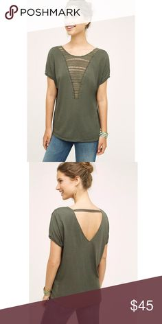 """NWT Anthropologie Tiny Macrame Bib Tee SM * Cotton, rayon * Macrame detail * Hand wash * Imported * Style No. 4112017566214 * Regular: 26.5""""L Item is new with tags and has never been worn.  Comes from a smoke and pet free home.  My prices are firm. No trades or holds. No transactions off of poshmark. Anthropologie Tops Blouses"""