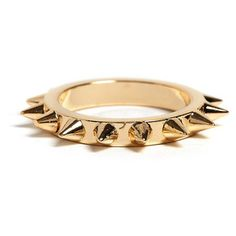 I desperately want this but the logistics.... i mean, it IS a RING! poor other fingers!!! maybe thumbs only?! Yes. thats it.  MFP- MariaFrancescaPepe Gold Ring With All Over Spikes