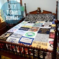 DIY T-Shirt Quilt. Do you have a bunch of t-shirts youre saving for some reason? I know I have a bunch of old Canucks, Blue Jays and Blue Rodeo shirts that could be used for this! In fact, Id like to adapt it to use Seraphinas old clothes and make her a blanket! #DIY #blanket #quilt #tshirt #craft #susansays-recycle
