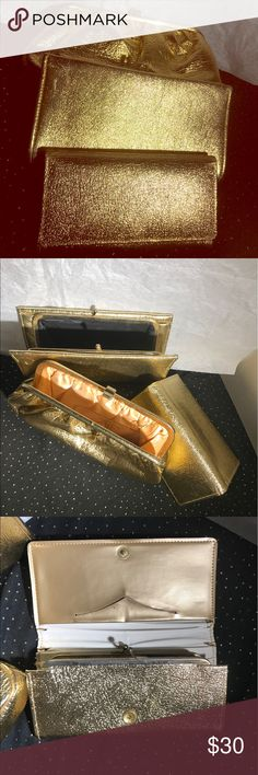 3 Vintage gold chain clutch, wallet, change purse Good for weddings or night out. Easy to clean. Everything is like new, a little cracking on wallet.Includes 10% off splashmystyle.com coupon Bags Clutches & Wristlets