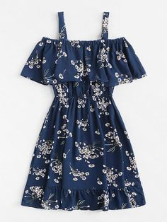Classy Fashion Tips Cold Shoulder Floral Print Tiered DressFor Women-romwe.Classy Fashion Tips Cold Shoulder Floral Print Tiered DressFor Women-romwe Girls Fashion Clothes, Teen Fashion Outfits, Mode Outfits, Cute Fashion, Outfits For Teens, Dress Outfits, Girl Outfits, Fashion Dresses, 70s Fashion