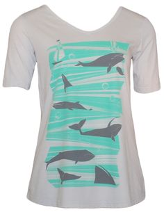 Silver Whales Ocean Vneck T-shirt