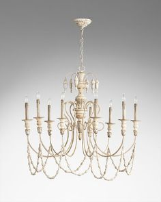 Cecil Nine White Light Iron and Wood Chandelier