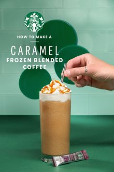 The Caramel Frozen Blended Coffee, where coffee, milk and ice all come together for a delicious cold drink that you can never seem to get enough of. Perfect for a warm summer day or any time you need a sweet pick-me-up, this recipe brings your favorite café blended drink right to your kitchen. Starbucks Caramel, Starbucks Recipes, Starbucks Drinks, Snack Recipes, Cooking Recipes, Snacks, Dinner Recipes, Yummy Drinks, Yummy Food