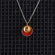 Large Enamel Pendant in Echutchan Red & Gold, Honeybourne Jewellery…
