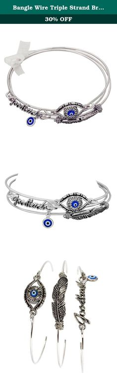 Bangle Wire Triple Strand Bracelet Feather, Evil Eye, and Good Luck Charm Silver Tone with Blue Accents. Rosemarie Collections is a Women Owned Small Business located in the USA! We offer fashionable jewelry and accessories for all occasions, a nice addition to your own collection or a great gift for someone special.