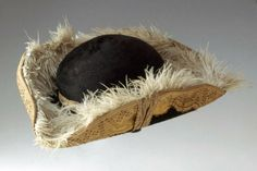 Tricorn Hat 1790, French, Made of plush and ostrich feathers