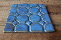 Geometric Tile-Blue- Made to Order. $14,00, via Etsy.
