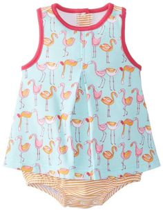 Zutano BabyGirls Newborn Flamingo ALine Jumper Aqua 6 Months *** Check out the image by visiting the link. (This is an affiliate link) #BabyGirlDresses