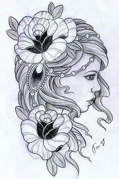 An extra large temporary tattoo from a bohemian girl with two big roses in her hair. Pin Up Tattoos, Badass Tattoos, Hair Tattoos, Leg Tattoos, Body Art Tattoos, Awesome Tattoos, Pencil Drawings Of Flowers, Flower Tattoo Drawings, Flower Tattoo Arm