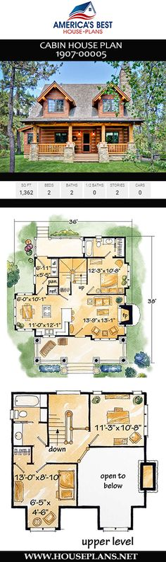 An epic 2-story Cabin home design, Plan 1907-00005 offers 1,362 sq. ft., 2 bedrooms, 2 bathrooms, an open floor concept, and an extra nook.