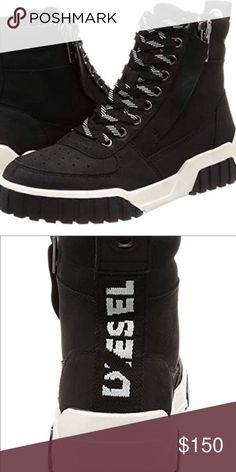 Ankle Sneakers, Studded Sneakers, Blue Sneakers, Leather Sneakers, High Top Sneakers, Black Diesel, Diesel Denim, Diesel Shoes, Designer Leather Jackets