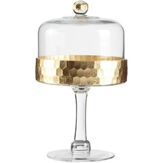 Jay Import Gold Daphne Pedestal Plate & Dome (€18) ❤ liked on Polyvore featuring home, kitchen & dining, serveware, gold cake stands, gold cake pedestal, gold plates and gold cake stand