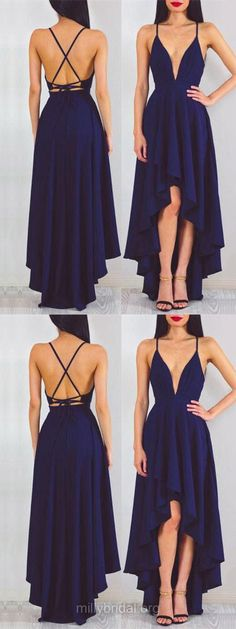 Blue Prom Dresses High Low, 2018 Prom Dresses For Teens Cheap, Backless Prom Dresses Casual , A-line Formal Party Dresses V-neck, Chiffon Evening Pageant Dresses Asymmetrical Ruffles