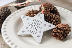 Baby's First Christmas - Handstamped Aluminum Star - Christmas Ornament - Christmas Star - Personalized Ornament by LazyLightningArt on Etsy