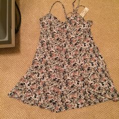 NWT AE floral dress Pink and gray floral dress. Lace up back, new with tags. American Eagle Outfitters Dresses