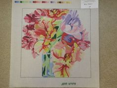 Jean Smith Hand Painted Needlepoint Canvas - sweet peas