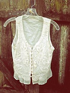 Womens Vest  BOHO  Shabby Crochet - Gypsy Chic -  ECO- Friendly by CrazyGirlsClothing