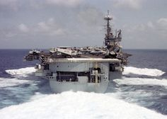 Forrestal Class USS Independence (CV-62) returning to Yokosuka, Japan in 1998