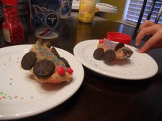 Wreck It Ralph- Vanelope Von Schweetz build your own racecar, out of apple slices, peanut butter, mini oreos and sprinkles.