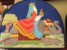 Brenda Stofft nativity needlepoint stitch guide and stitched by Colleen Church, wise man and elephant