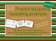 Need a way to practice French adjectives in class? Kids love this French adjectives speaking activity, because they get to get up and move!This set of 36 questions is perfect for beginners who need more practice with -adjectives, the structure of Est-ce que, and full sentence responses.