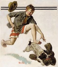 Norman rockwell boy chasing dog w pants art oil painting print on canvas print Norman Rockwell Art, Norman Rockwell Paintings, Style Retro, Style Vintage, The Saturdays, Pop Art, Painting Prints, Canvas Prints, Saturday Evening Post