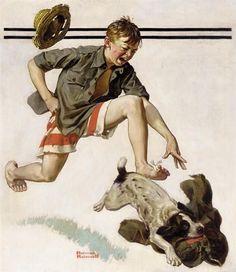 Norman rockwell boy chasing dog w pants art oil painting print on canvas print Norman Rockwell Art, Norman Rockwell Paintings, Painting & Drawing, Painting Prints, Canvas Prints, The Saturdays, Pop Art, Huckleberry Finn, Style Retro