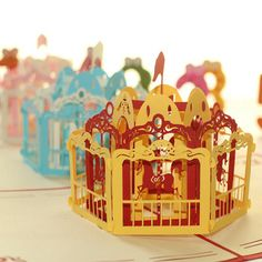 Exclusive Merry -Go -Round Handmade 3D Pop UP Greeting Cards
