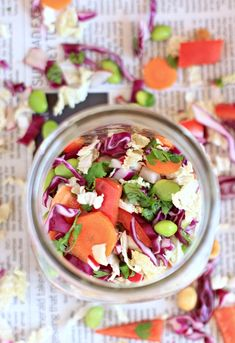 Crunchy Asian Chopped Cabbage Salad with Peanut Dressing in a Jar