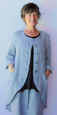 Linen Gray Jacket With Tails