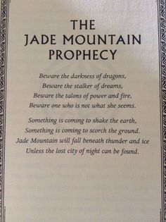 Jade mountain prophecy wings of fire