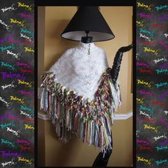 One of a kind UNISEX unique Knitted Rag Poncho by iLoveThelmaLu, $125.00