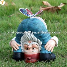 """The garden gnome is a staple of lawn decor, but have you ever thought, """"I wonder… Yard Gnomes, Funny Garden Gnomes, Gnome Garden, Gnome Village, Baumgarten, Gnome House, Christmas Characters, Outdoor Christmas Decorations, Garden Ornaments"""