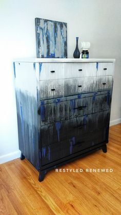 Canvas art on furniture. Dripping paint on furniture. Fusion mineral paint. Modern Masters metallic paint. Creative dresser. Drip technique. Blending technique. Creative furniture.