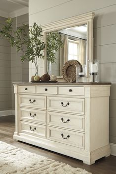Bolanburg – Two-tone – Dresser & Mirror – JR Furniture & Mattress – Dresser Decor Shabby Chic Mode, Shabby Chic Living Room, Shabby Chic Bedrooms, Shabby Chic Kitchen, Shabby Chic Furniture, Furniture Dolly, Luxury Furniture, Dresser Furniture, Italian Furniture