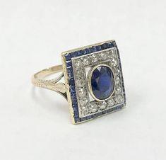 Stunning Antique Sapphire & Old Mine Cut Diamond Ring