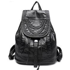 2016 Genuine Leather women backpack fashion Knitting and Rivets backpacks for teenage girls black casual travel school bag